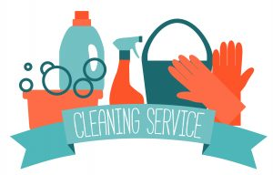 Flat design logo for cleaning service.
