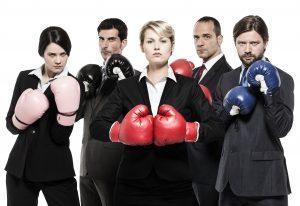 Agressive business team