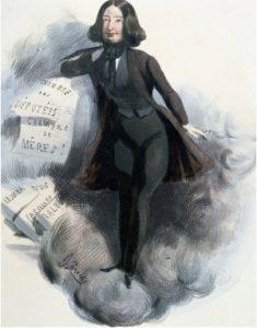George Sand assumait de prendre une identité d'homme pour faire sa place dans le monde des lettres. Ici caricaturée par Alcide Joseph Lorentz.